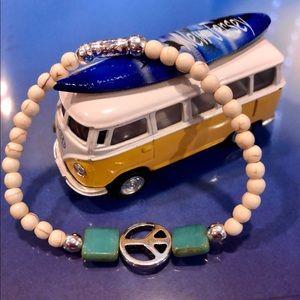 White & Blue/Green Peace Bracelet